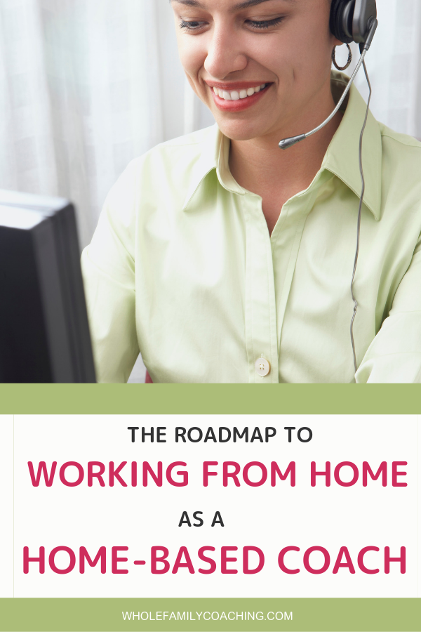 Work as a Home-Based Coach -Whole Family Coaching. Woman wearing a headset speaking with a client over the internet while working from a home office.